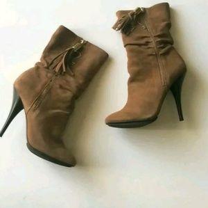 Michael Kors Vienna Barley Suede Mid Calf Boots
